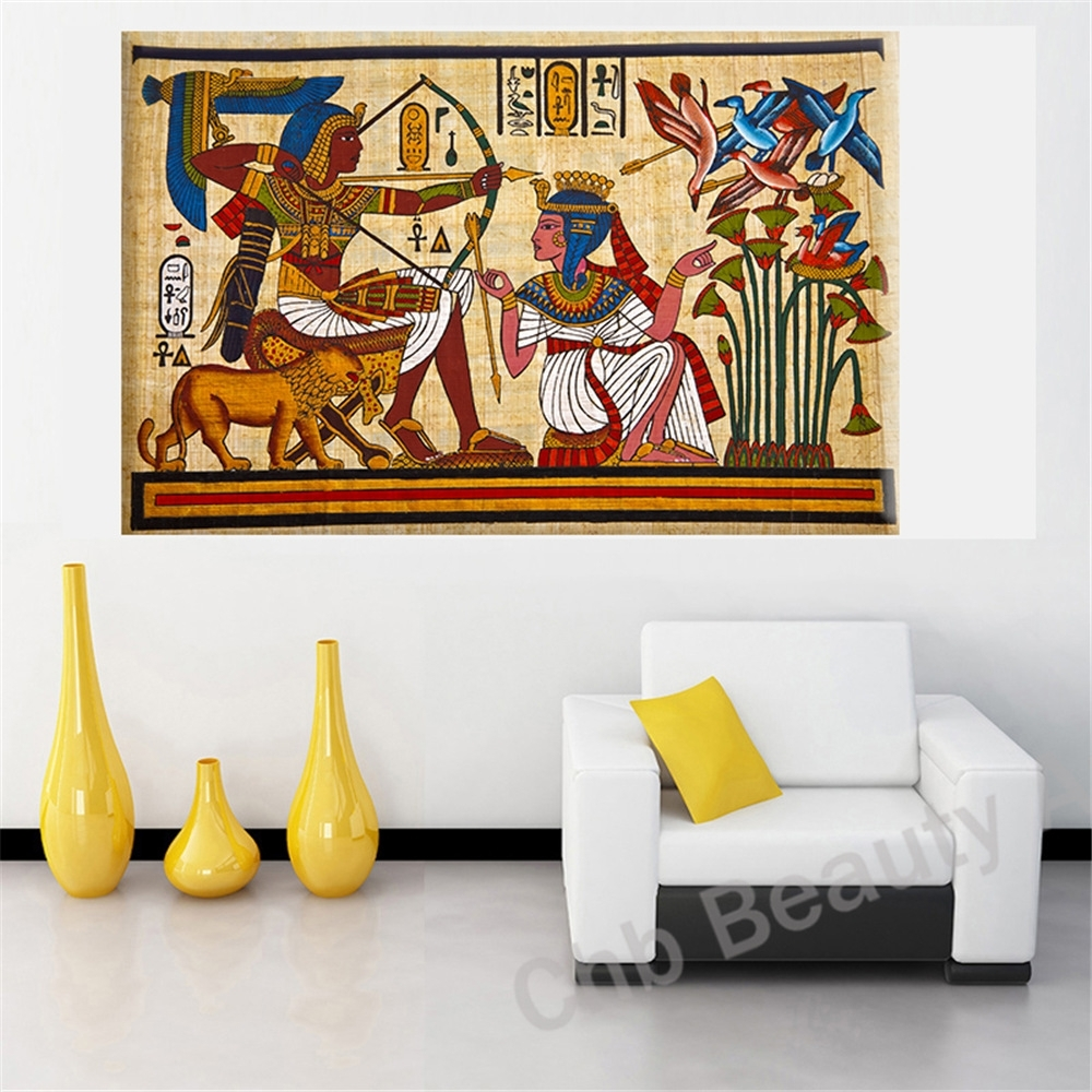 Pharaoh Egyptian Decor Canvas Painting Wall Pictures For Living With Regard To Recent Egyptian Canvas Wall Art (View 15 of 15)