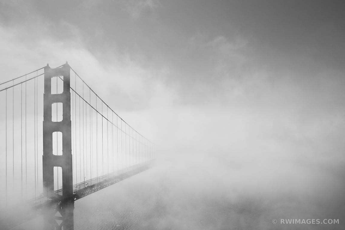Photo Print Of Golden Gate Bridge Fog San Francisco Black And With Regard To Best And Newest Golden Gate Bridge Canvas Wall Art (View 12 of 15)