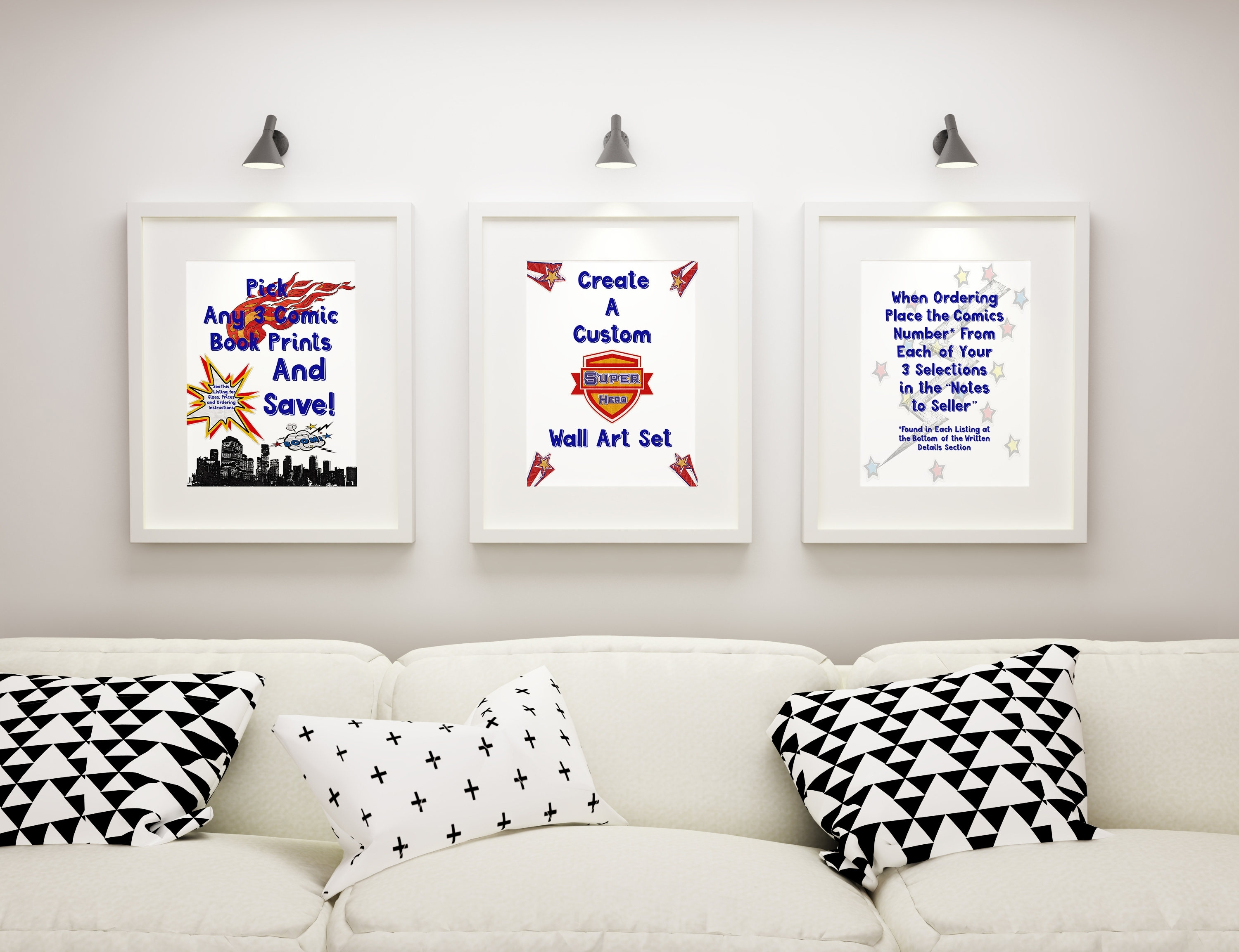 Pick Any 3 Comic Book Prints To Create A Custom Wall Art Print Set Within Most Popular Custom Framed Art Prints (Gallery 12 of 15)