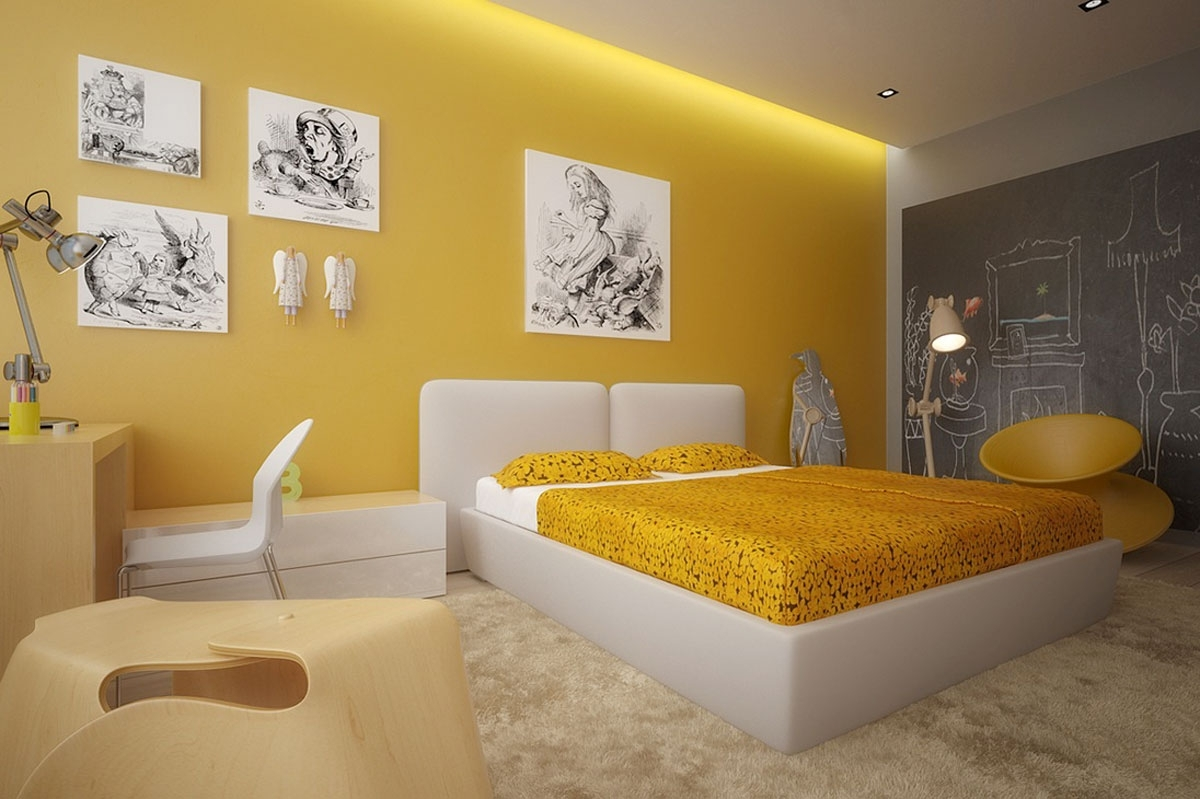 Pictures Of Yellow Bedroom Design With Gray Curtains And Wall For Current Yellow Wall Accents (Gallery 8 of 15)