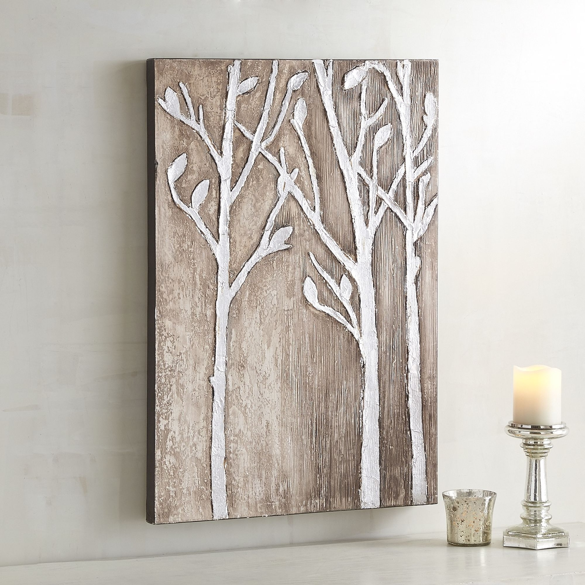 Pier One Silver Birch Wall Art $62 Acrylic On Canvas Wall Art (View 12 of 15)