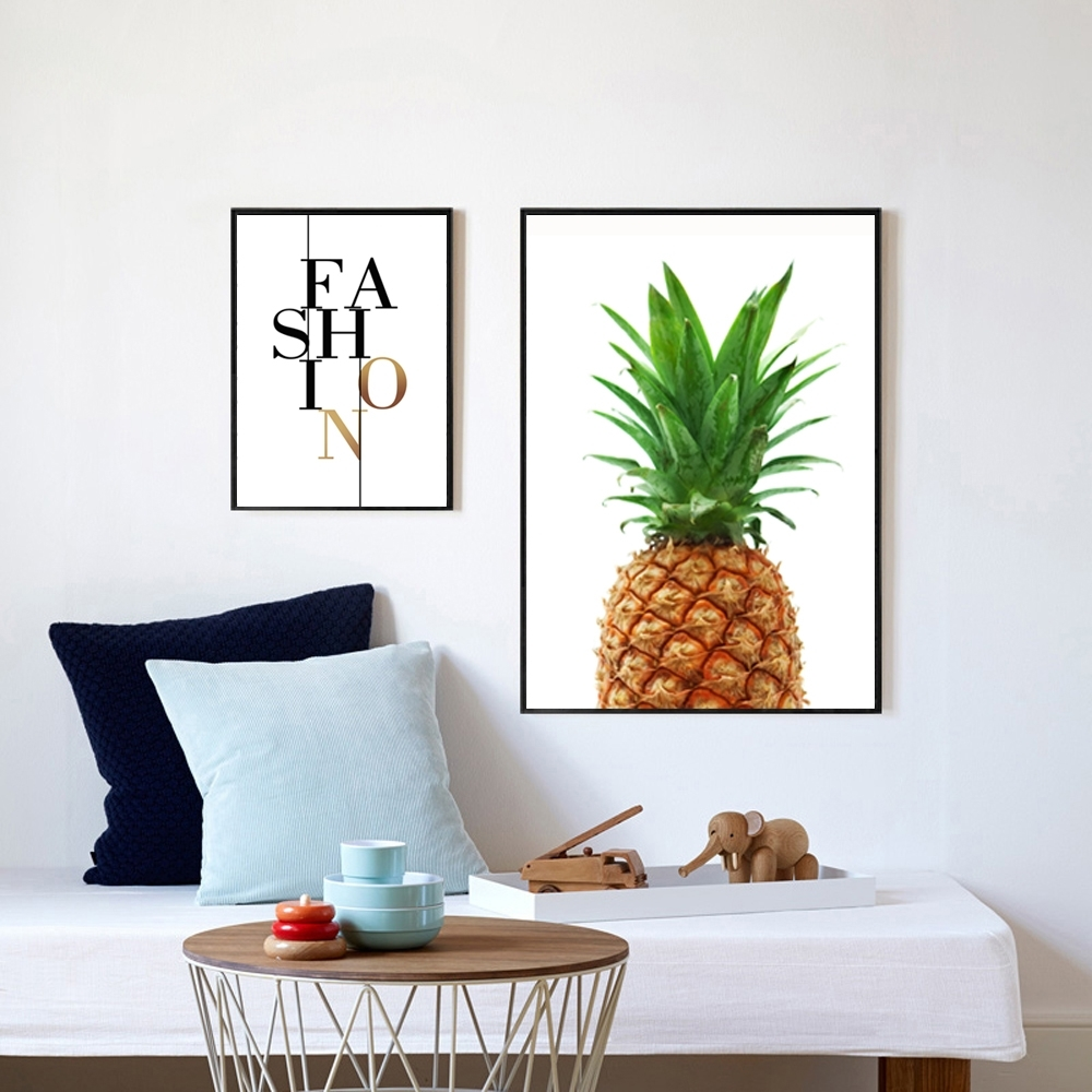 Pineapple Print Fabric, Pineapple Wall Art, Pineapple Poster Regarding Newest Large Print Fabric Wall Art (View 9 of 15)