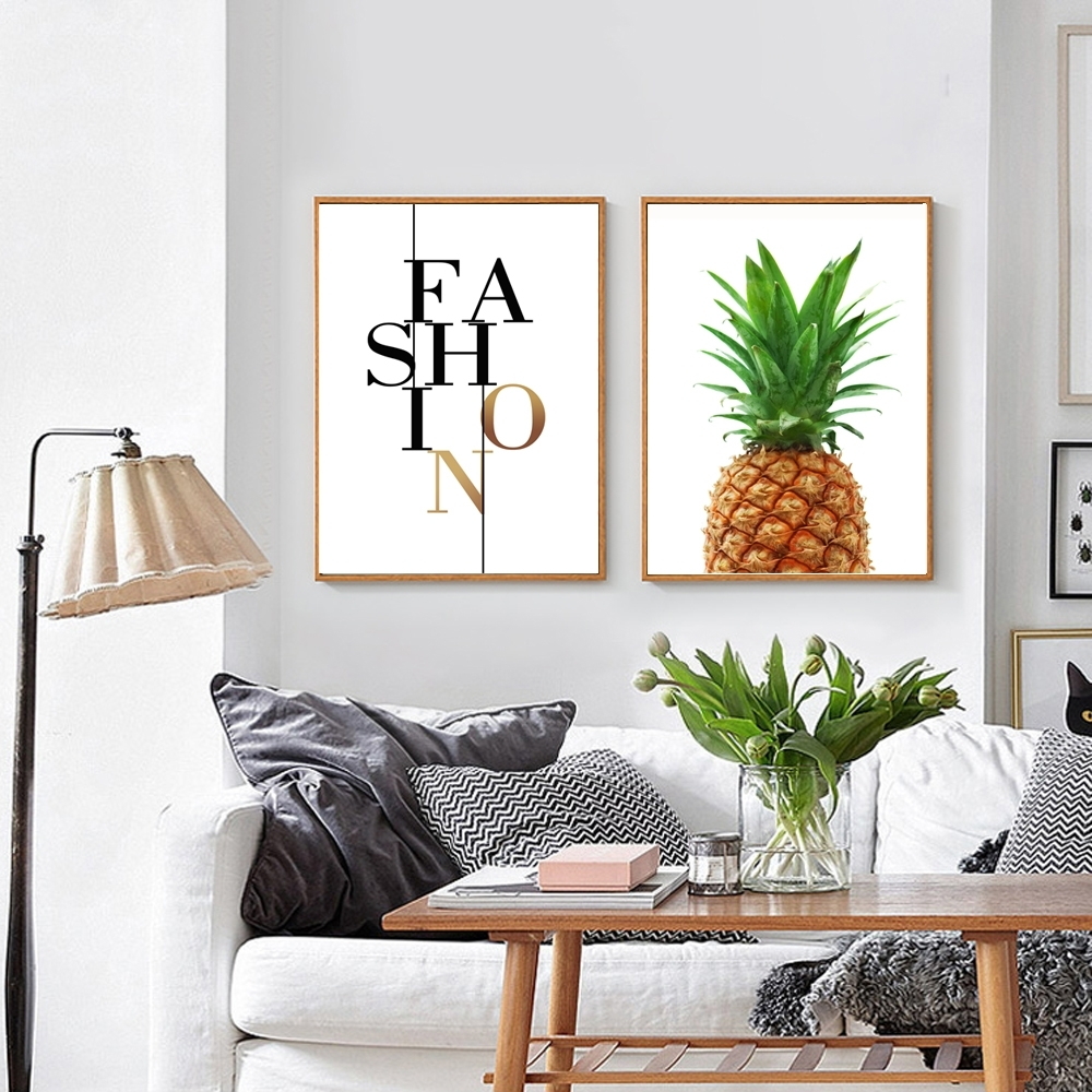 Pineapple Print Fabric, Pineapple Wall Art, Pineapple Poster Regarding Newest Large Print Fabric Wall Art (View 8 of 15)