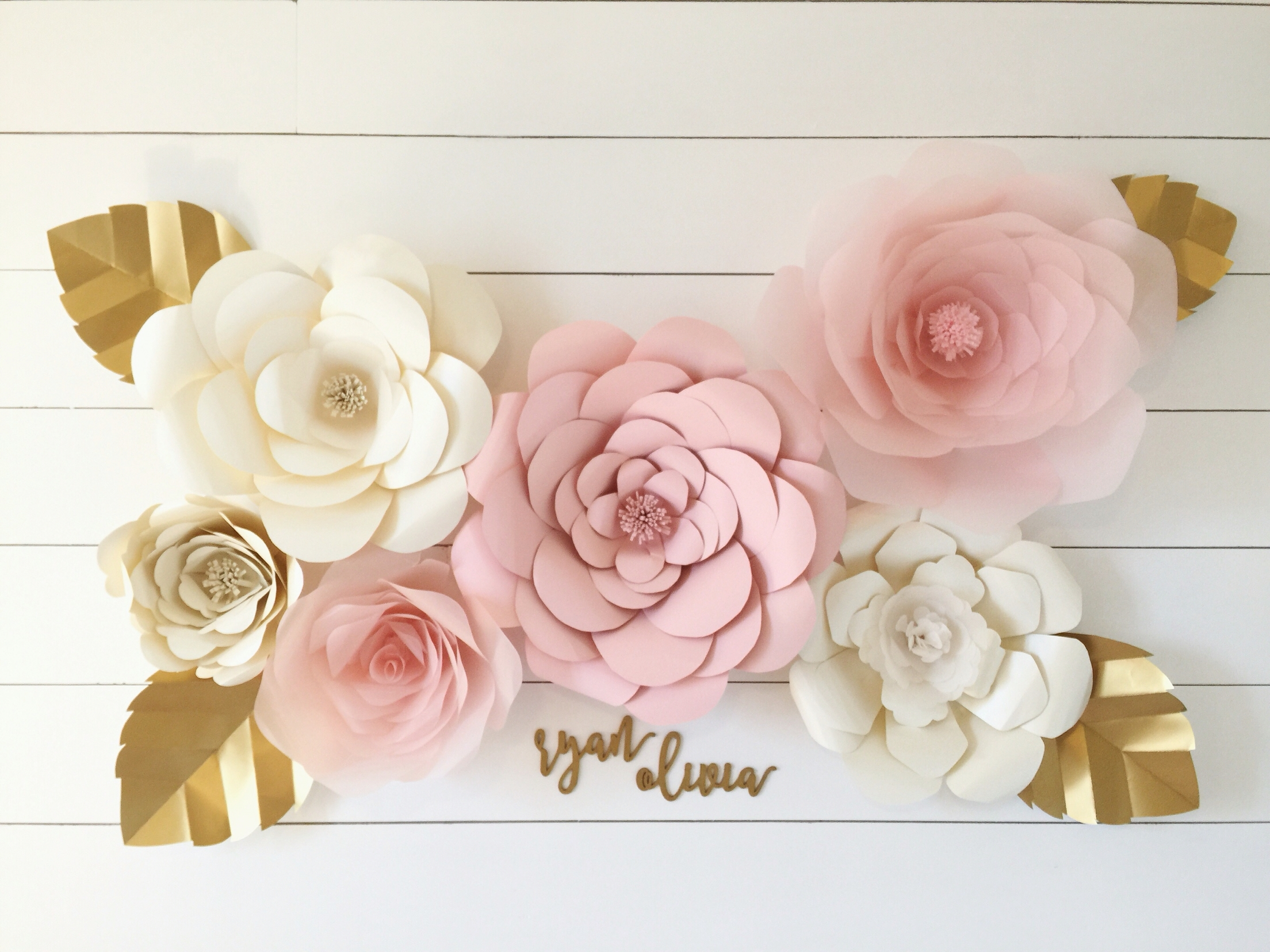 Pink And Gold Nursery Baby Girl Nursery Giant Paper Flowers White Throughout Newest Flowers Wall Accents (View 14 of 15)