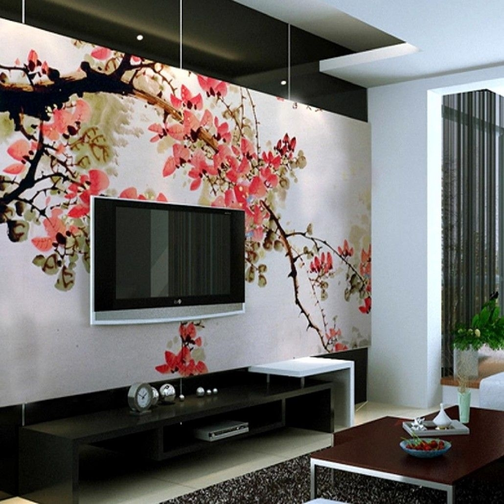 Pink Floral Wallpaper Ideas Behind Black Hung Screen Tv In Living Regarding Most Popular Wall Accents Behind Tv (Gallery 3 of 15)