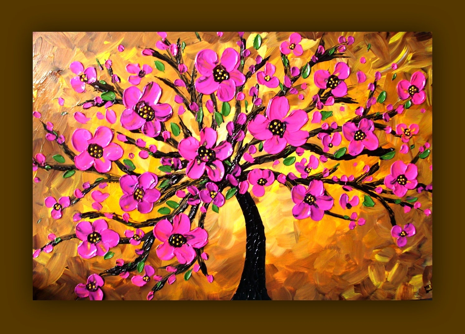 Pink Flower Painting, Pink Tree Painting, Textured Original Pertaining To Most Popular Port Elizabeth Canvas Wall Art (View 13 of 15)