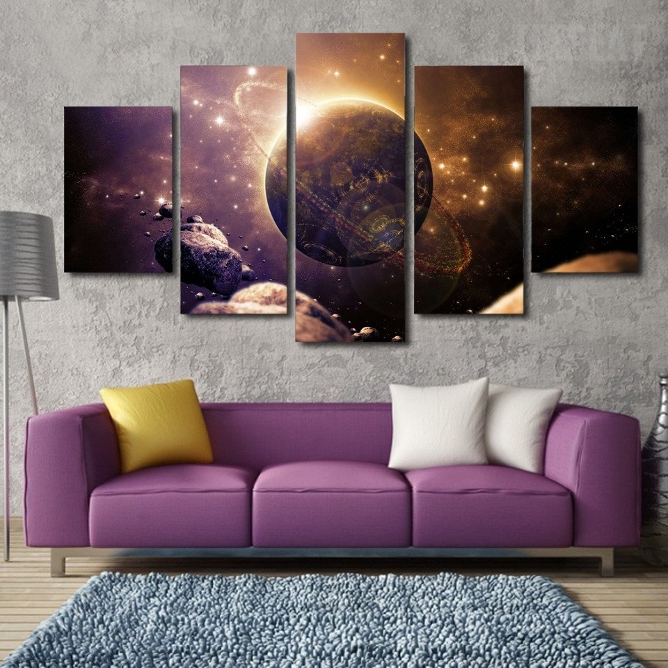 Planet Of The Universe Painting - 5 Piece Canvas | Planets within Most Recent Rectangular Canvas Wall Art
