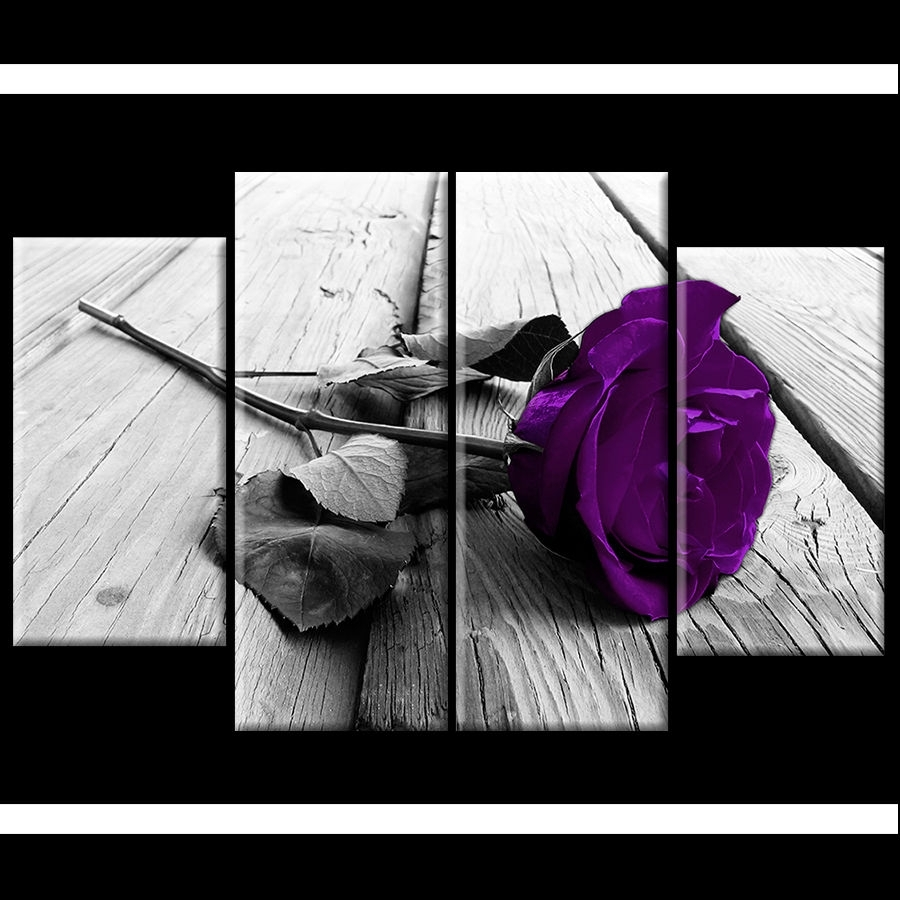 Plum Purple Rose Floral Canvas Black White Wall Art Picture Wide Inside Most Up To Date Roses Canvas Wall Art (View 12 of 15)