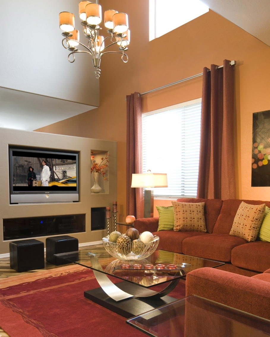 Pretty Living Room With Beige Accents Wall Feat Brown Sectional Within Most Up To Date Wall Accents Behind Tv Or Couch (View 13 of 15)