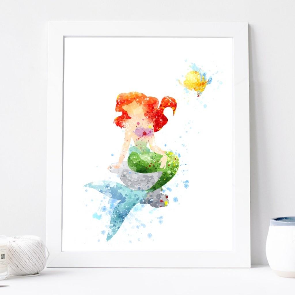 Princess Ariel Poster - Watercolor Art Print, Disney Little with regard to Most Popular Disney Framed Art Prints