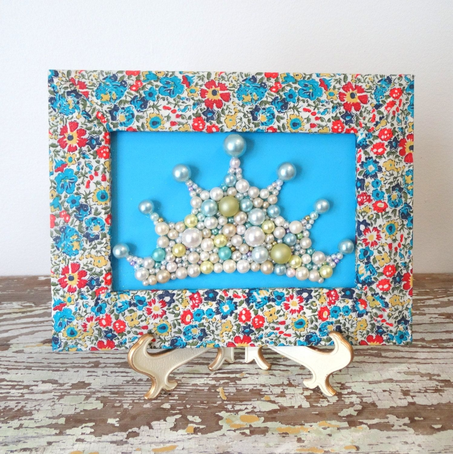 Princess Crown – 3D Art – Decoupage Frame – Liberty Of London With 2017 Fabric Decoupage Wall Art (View 12 of 15)
