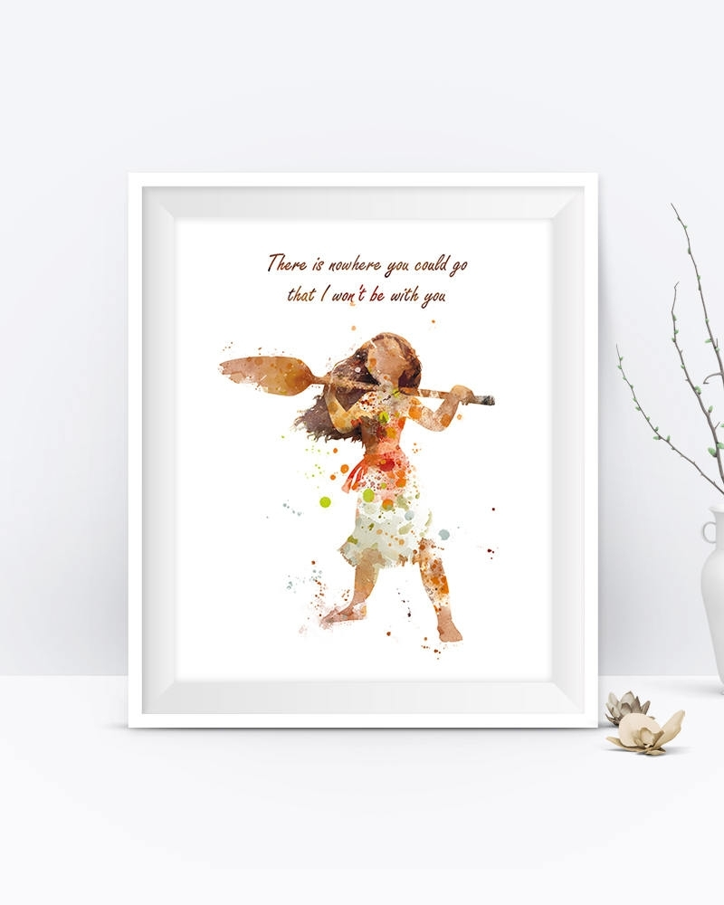 Princess Moana Art Print Moana Quote Watercolor Moana Party Disney throughout Most Up-to-Date Disney Framed Art Prints