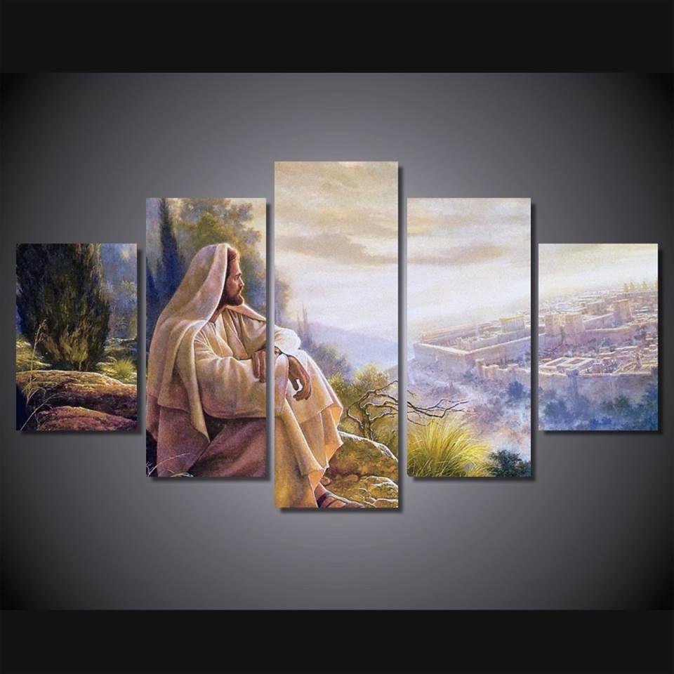 Print 5 Pcs Canvas Wall Art Print Jesus Default Painting Wall Art Regarding 2018 Jesus Canvas Wall Art (View 13 of 15)