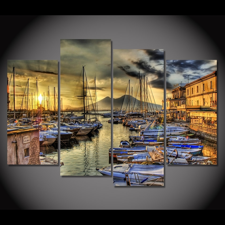 Print Canvas Painting Naples Italy Sea Pier Wharf Boat Wall Art With Regard To Newest Canvas Wall Art Of Italy (View 11 of 15)