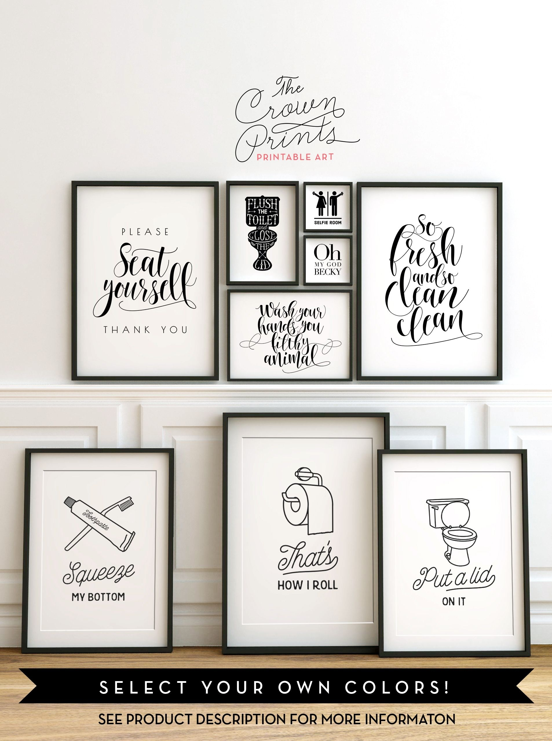 Printable Bathroom Wall Art From The Crown Prints On Etsy – Lots Intended For Newest Canvas Wall Art Funny Quotes (Gallery 6 of 15)