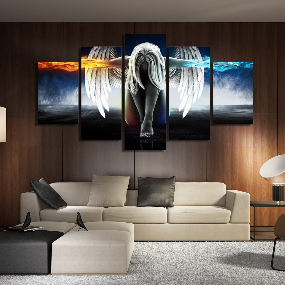 Printed 5 Piece Canvas Art Angel With Wings Painting Anime Room In Current Anime Canvas Wall Art (View 9 of 15)