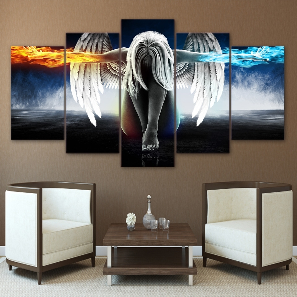Printed 5 Piece Canvas Art Angel With Wings Painting Anime Room Intended For Most Recent Anime Canvas Wall Art (View 13 of 15)