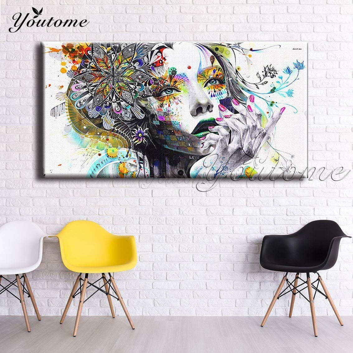 Psychedelic Fabric Girl Modern Wall Art Girl With Flowers Painting For Recent Wall Art Fabric Prints (View 3 of 15)