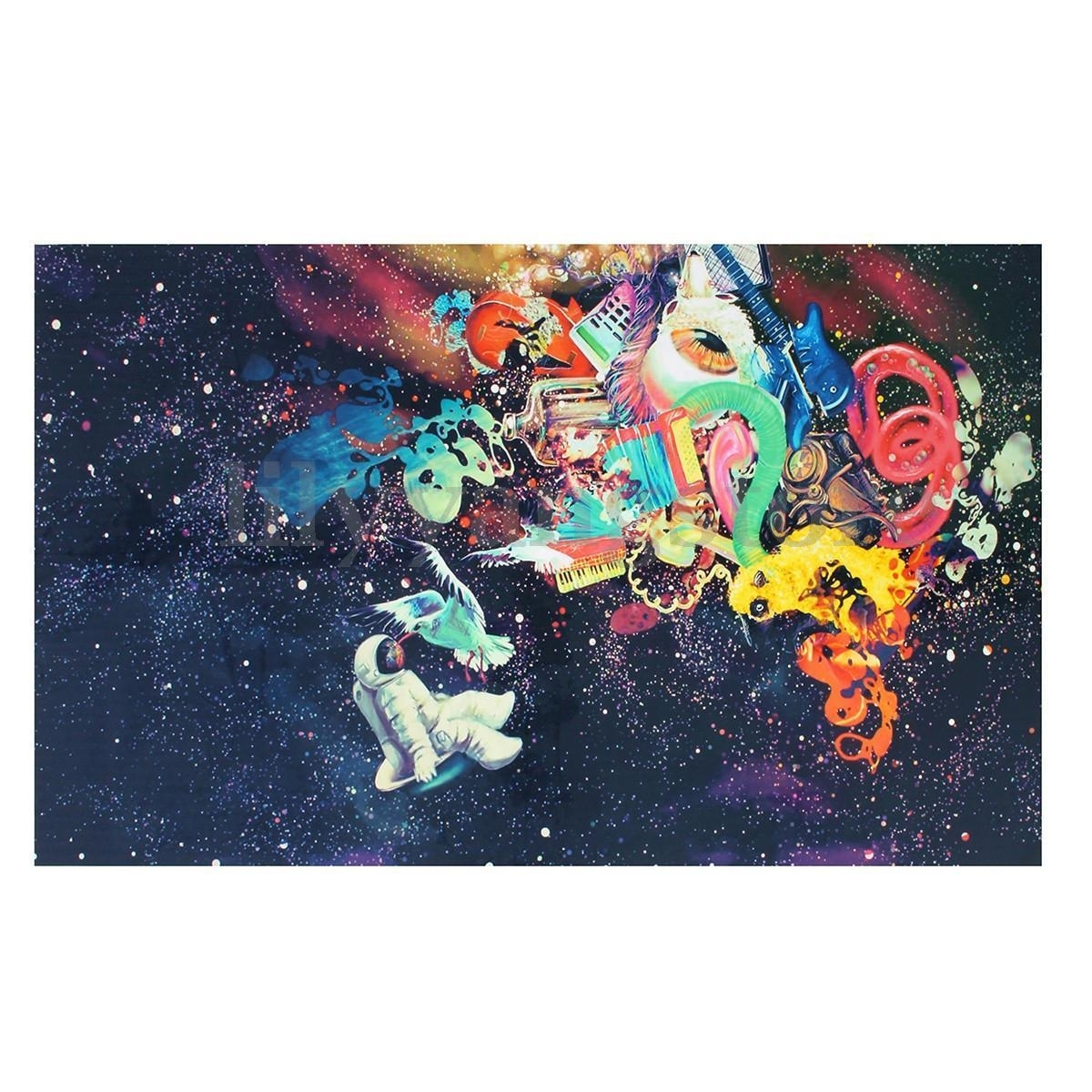 Psychedelic Trippy Art Silk Fabric Poster Modern Space Wall Decor regarding Most Recent Silk Fabric Wall Art