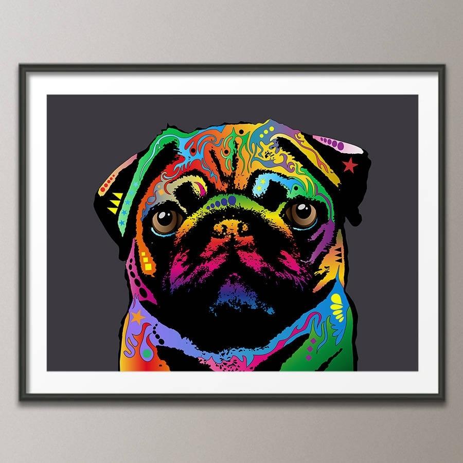 Pug Dog Pop Art Printartpause | Notonthehighstreet inside Latest Dog Art Framed Prints