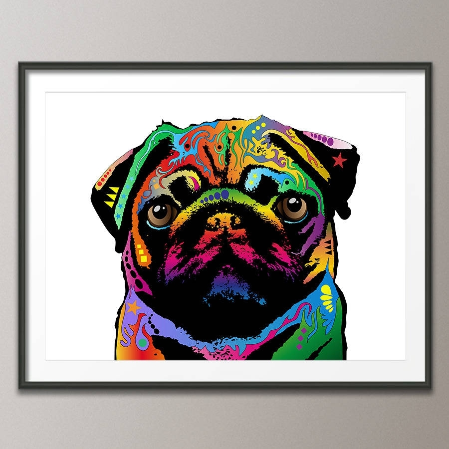 Pug Dog Pop Art Printartpause | Notonthehighstreet Pertaining To 2018 Dog Art Framed Prints (View 12 of 15)