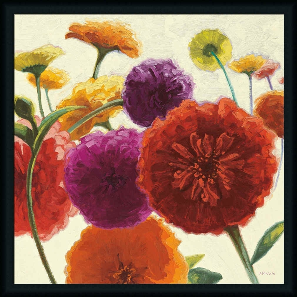 Pure Palette Zinniasshirley Novak – Art Print Framed Throughout Latest Flowers Framed Art Prints (View 7 of 15)