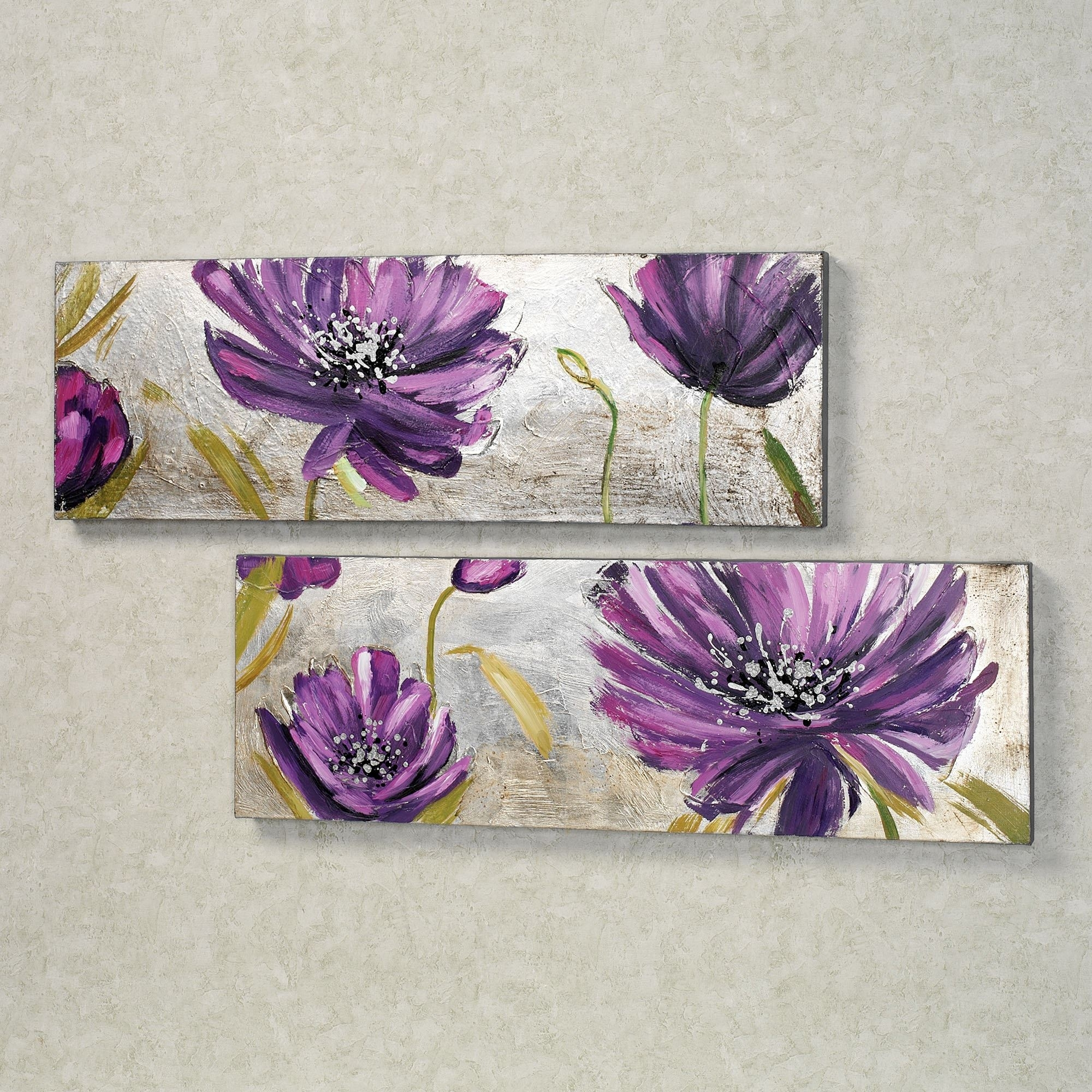 Purple Allure Floral Canvas Wall Art Set Within Most Current Purple Flowers Canvas Wall Art (View 2 of 15)