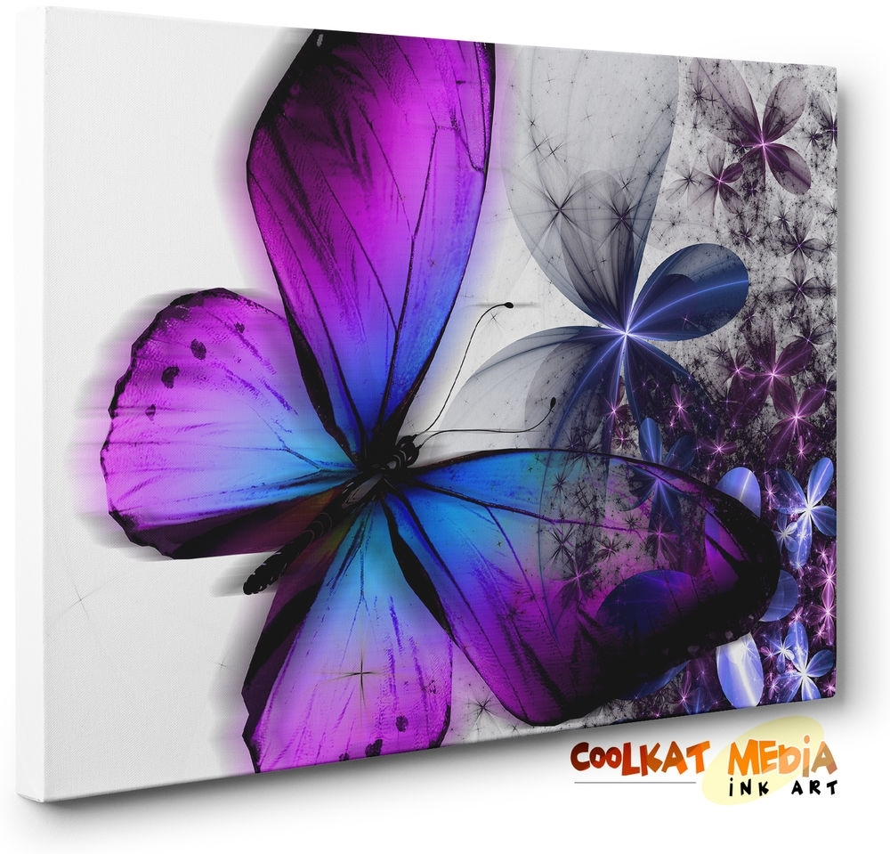 Purple Blue Abstract Floral Butterfly Canvas Wall Art Print (Ready Throughout Most Recent Butterflies Canvas Wall Art (View 12 of 15)