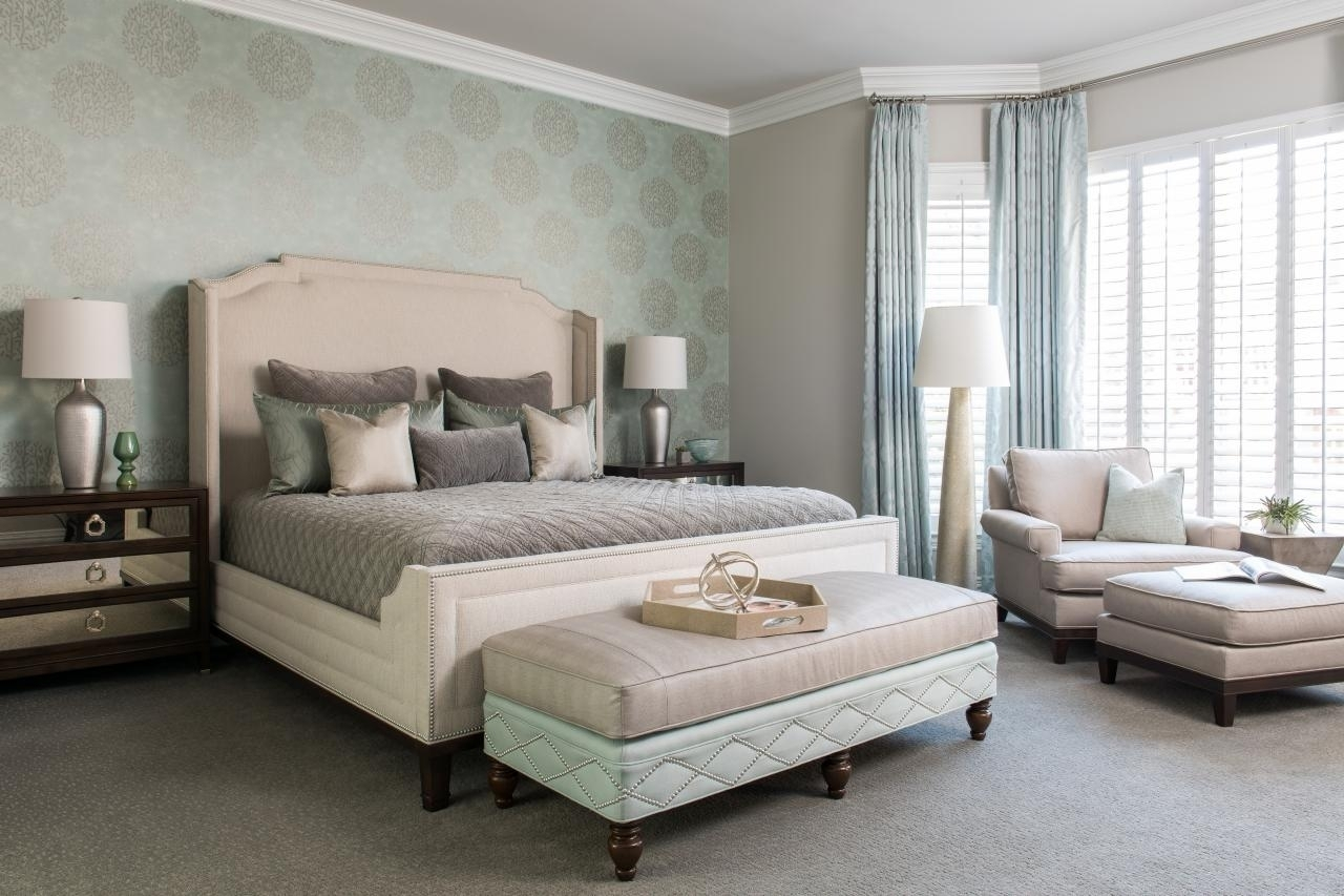 Purple Feature Wall Bedroom Ideas Home Design Grey Walls With Regarding 2018 Wall Accents Behind Bed (View 13 of 15)