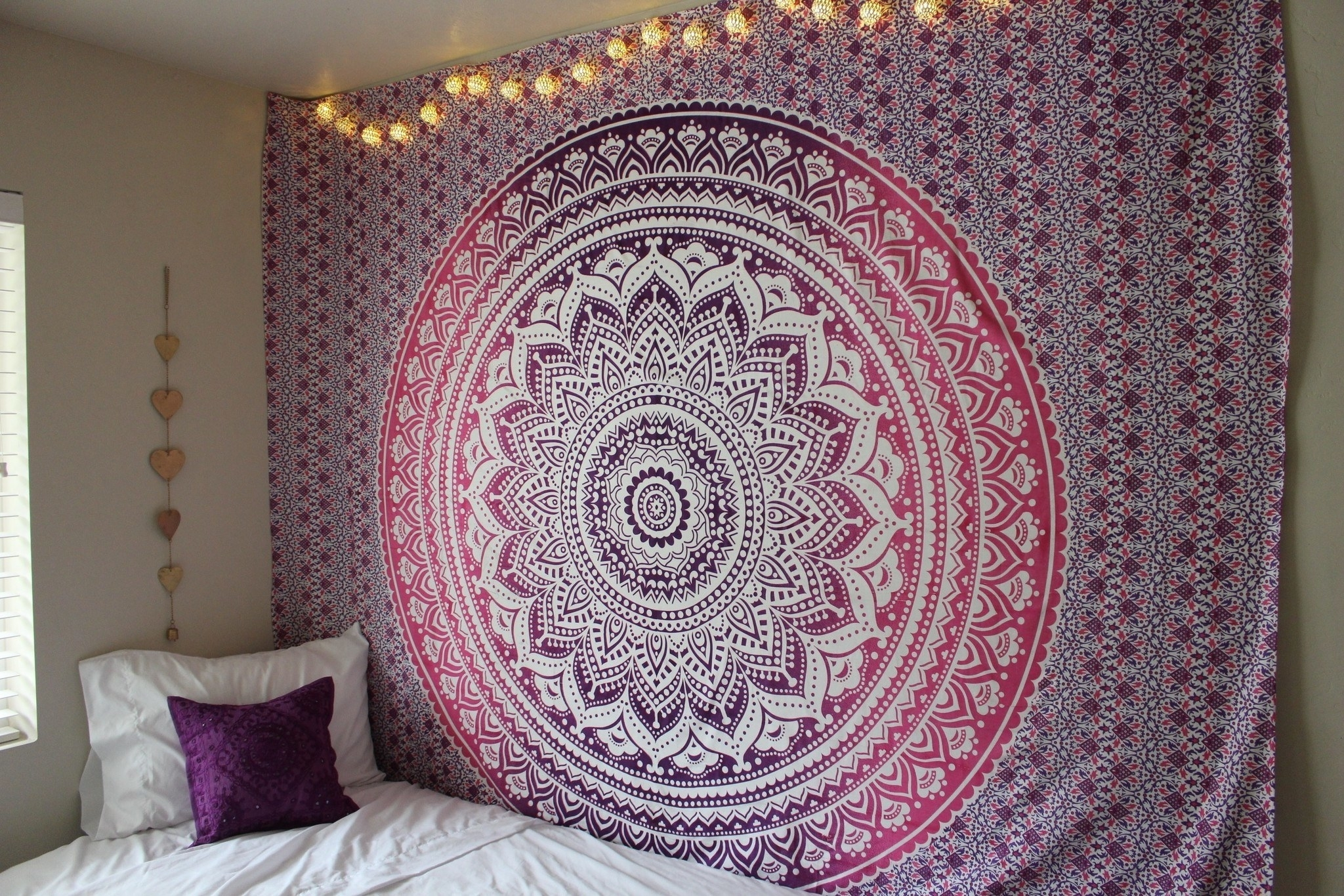 Purple Ombre Mandala Cotton Wall Tapestry Bedding – Royalfurnish With Best And Newest Indian Fabric Art Wall Hangings (View 8 of 15)