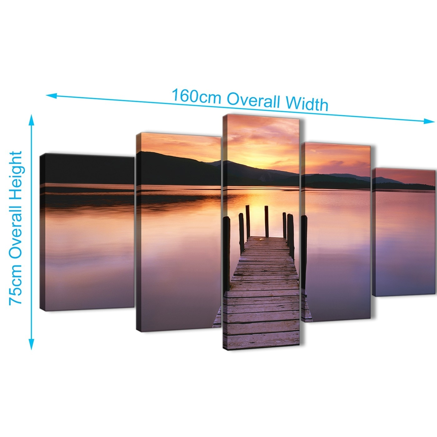 Purple Sunset Jetty Derwent Water Lake – 5 Part Landscape Canvas Inside Most Up To Date Jetty Canvas Wall Art (View 13 of 15)