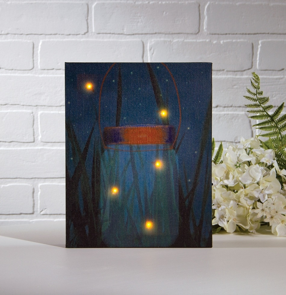 Radiance Lighted Canvas Firefly Jar With Timer Shelley B Home And With Current Halloween Led Canvas Wall Art (View 13 of 15)