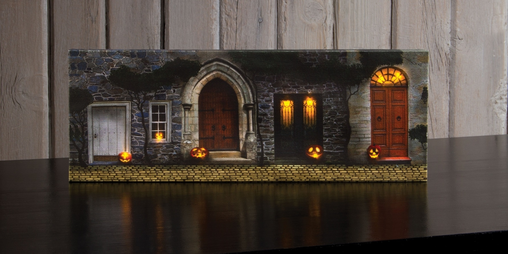 Radiance Lighted Canvas Small Halloween Front Door With Jack O Inside Most Current Halloween Led Canvas Wall Art (View 2 of 15)