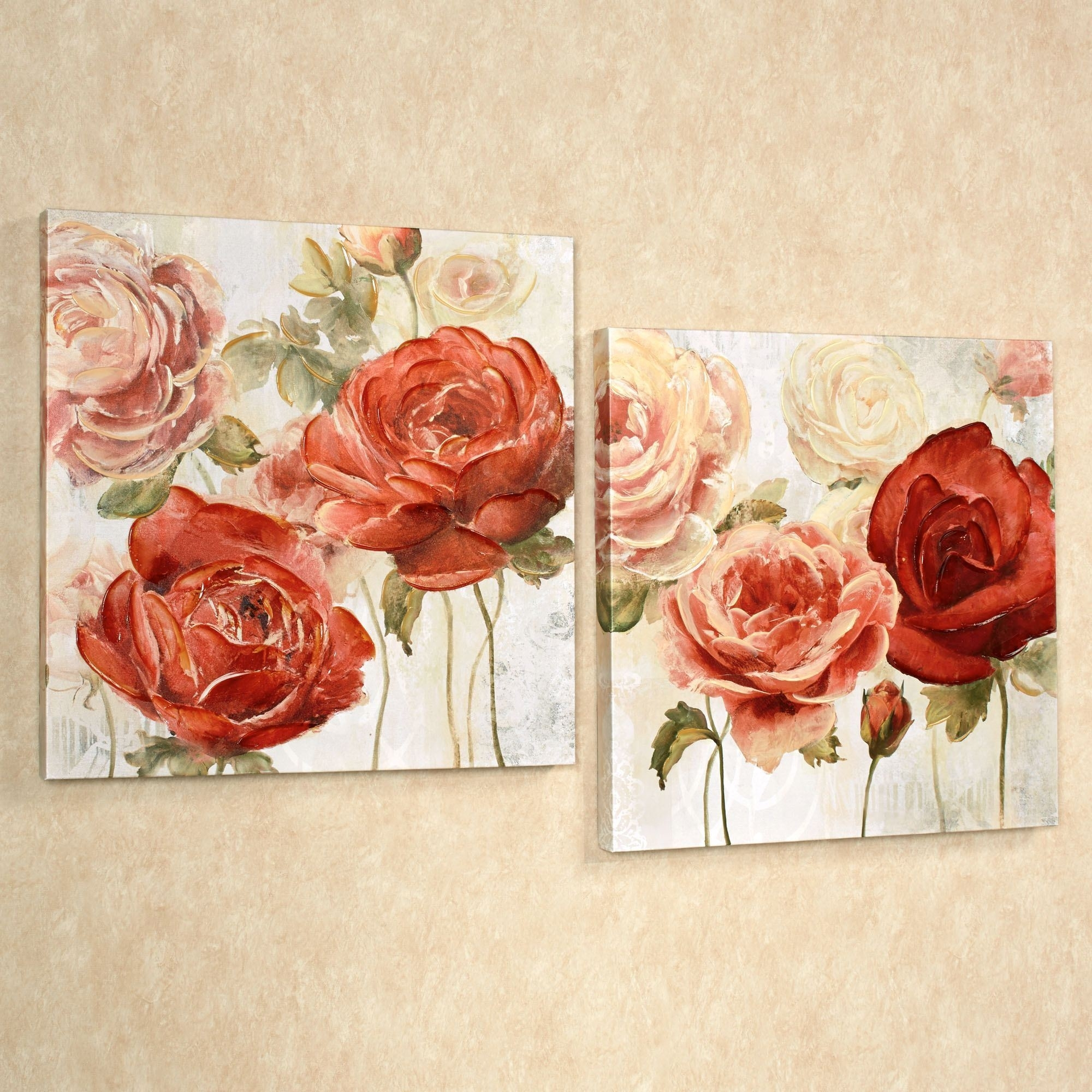 Radiant Blooms Rose Floral Canvas Wall Art Set Inside Most Recently Released Roses Canvas Wall Art (View 10 of 15)