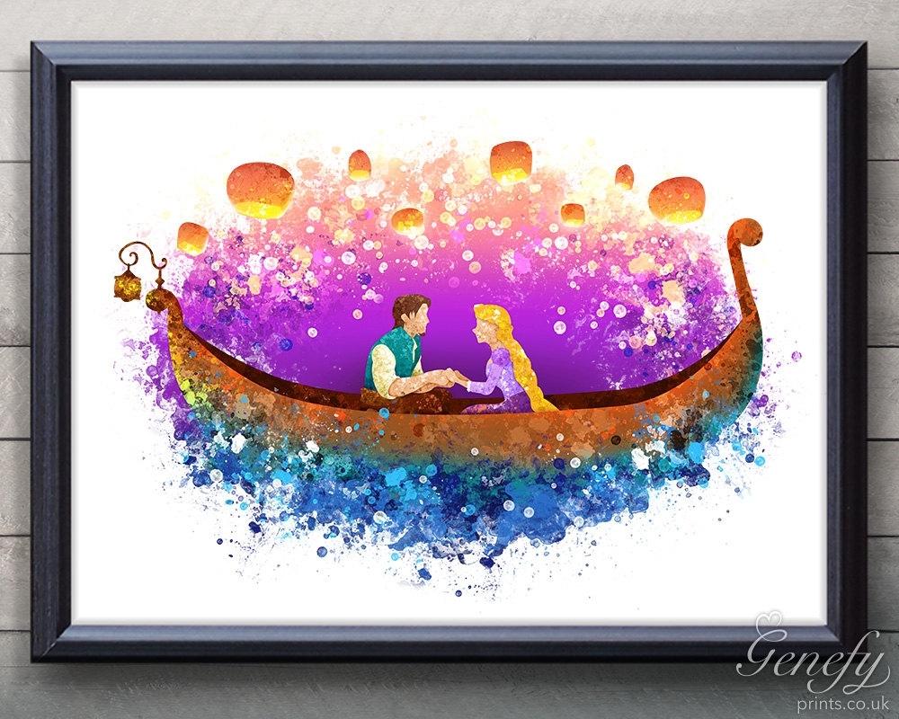 Rapunzel X Eugene ~tangled ~water Color Art | Water Color Art With 2018 Disney Framed Art Prints (View 15 of 15)