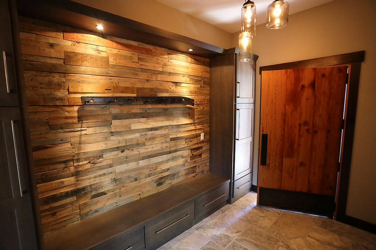 Reclaimed Wood Accent Wall Fireplace | Pre Fab Wood Wall Panels With Most Recently Released Wooden Wall Accents (View 9 of 15)