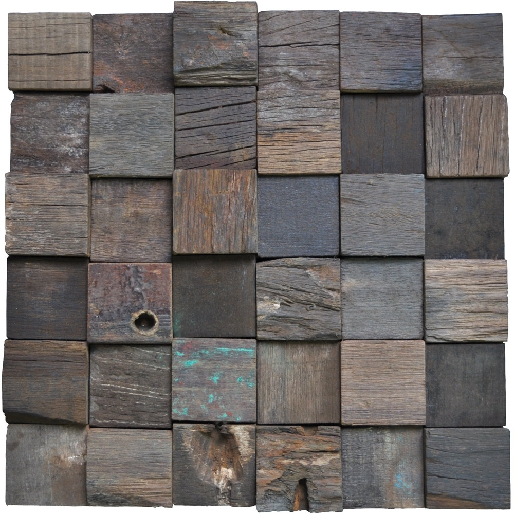 Reclaimed Wood Wall Tile Ancient Boat Wood Panels, Set Of 11 Regarding Most Current Reclaimed Wood Wall Accents (View 10 of 15)