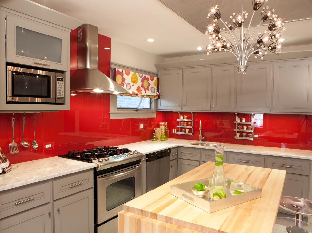 Red And White Kitchen Designs Black White And Red Wall Decor Red Intended For Most Popular Wall Accents Cabinets (View 3 of 15)