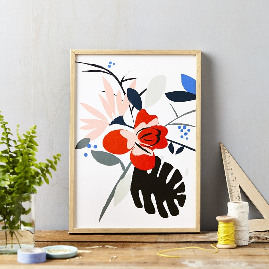 Red Flower On White Art Print | Lucy Says I Do Inside Most Recently Released Framed Art Prints (View 12 of 15)