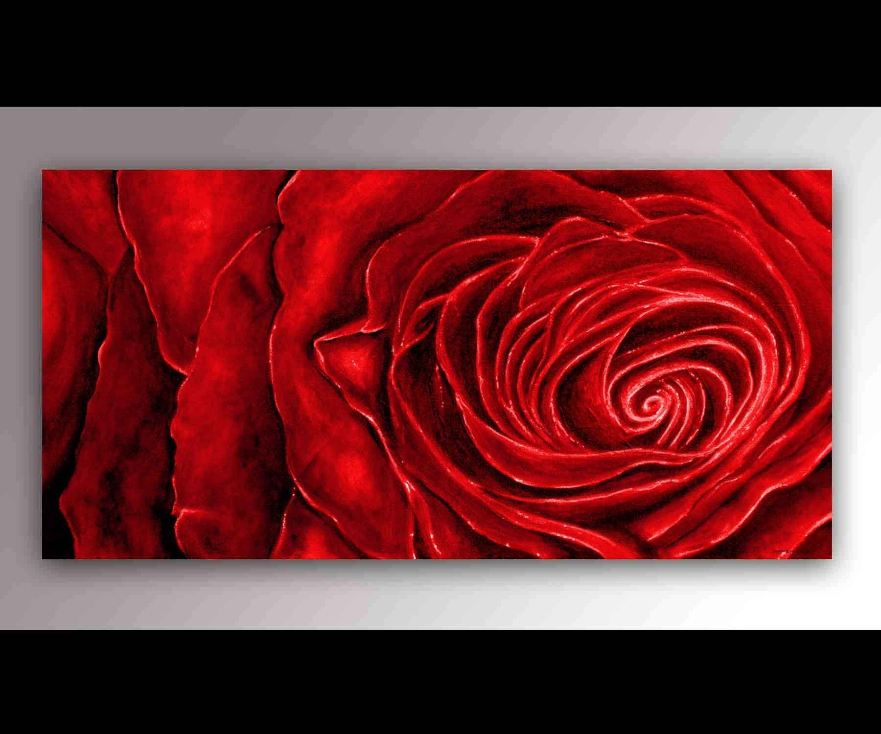 Red Rose Painting | Red Rose Art | Red Roses Canvas | Flower With Regard To Most Recent Roses Canvas Wall Art (View 12 of 15)