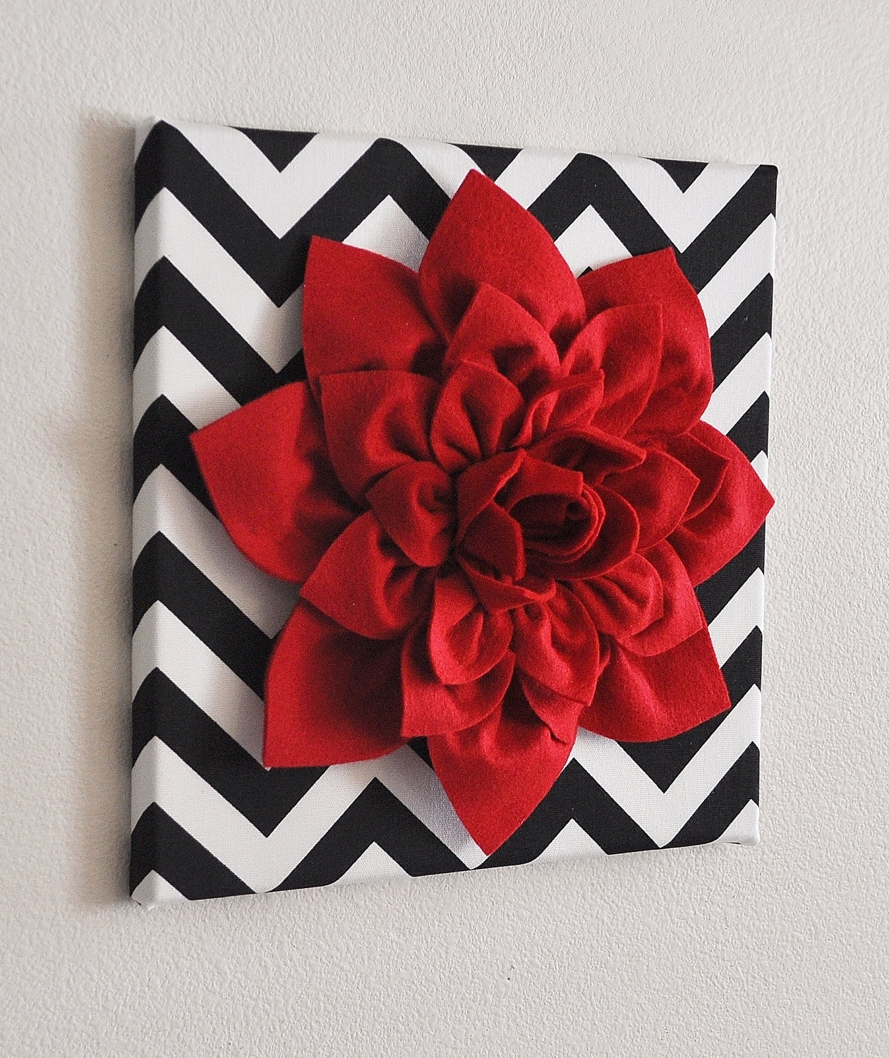 Red Wall Flower Red Dahlia On Black And White Chevron 12 X12 Pertaining To Most Recently Released Red Fabric Wall Art (View 9 of 15)