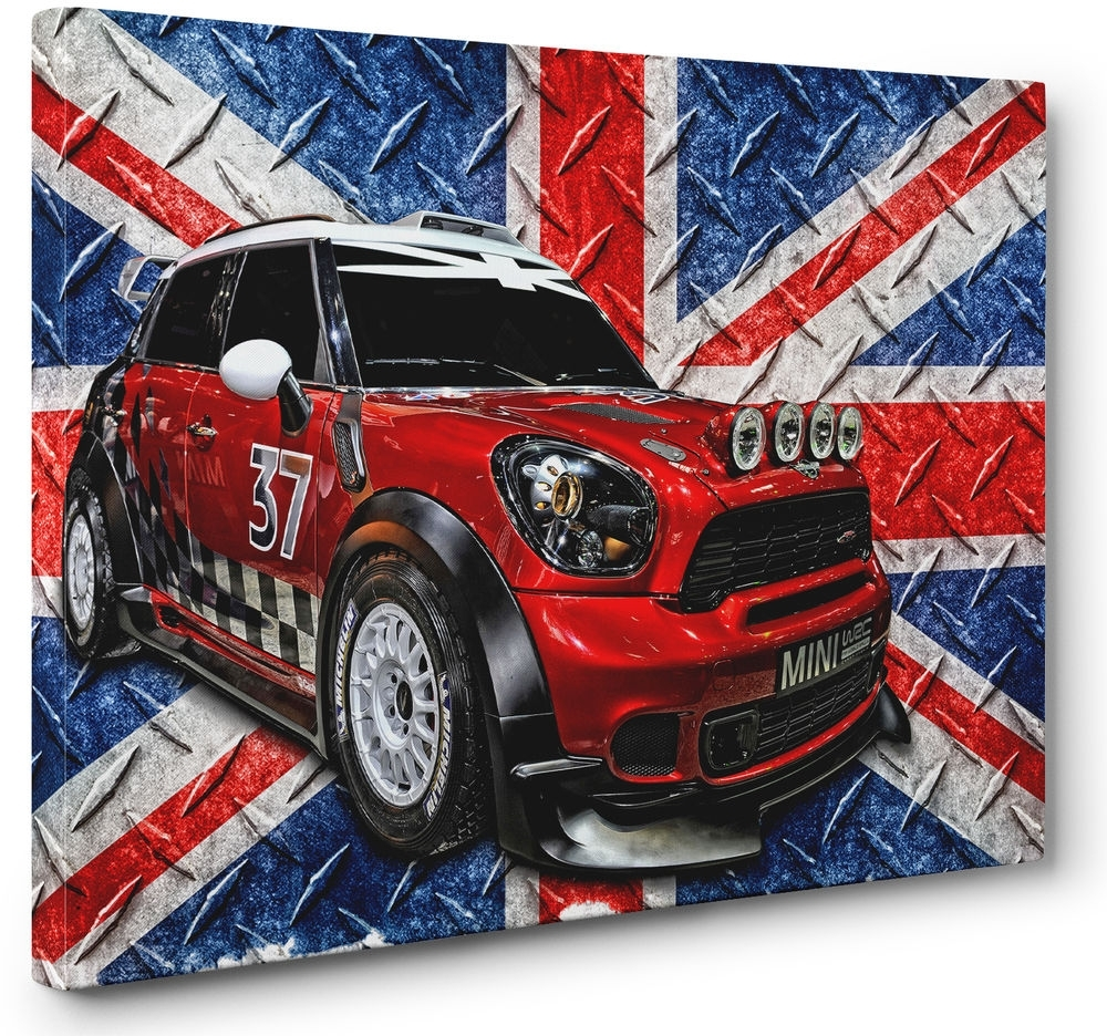 Red White Blue Mini Cooper Car Canvas Print Union Jack Flag Wall Throughout Most Popular Union Jack Canvas Wall Art (View 9 of 15)