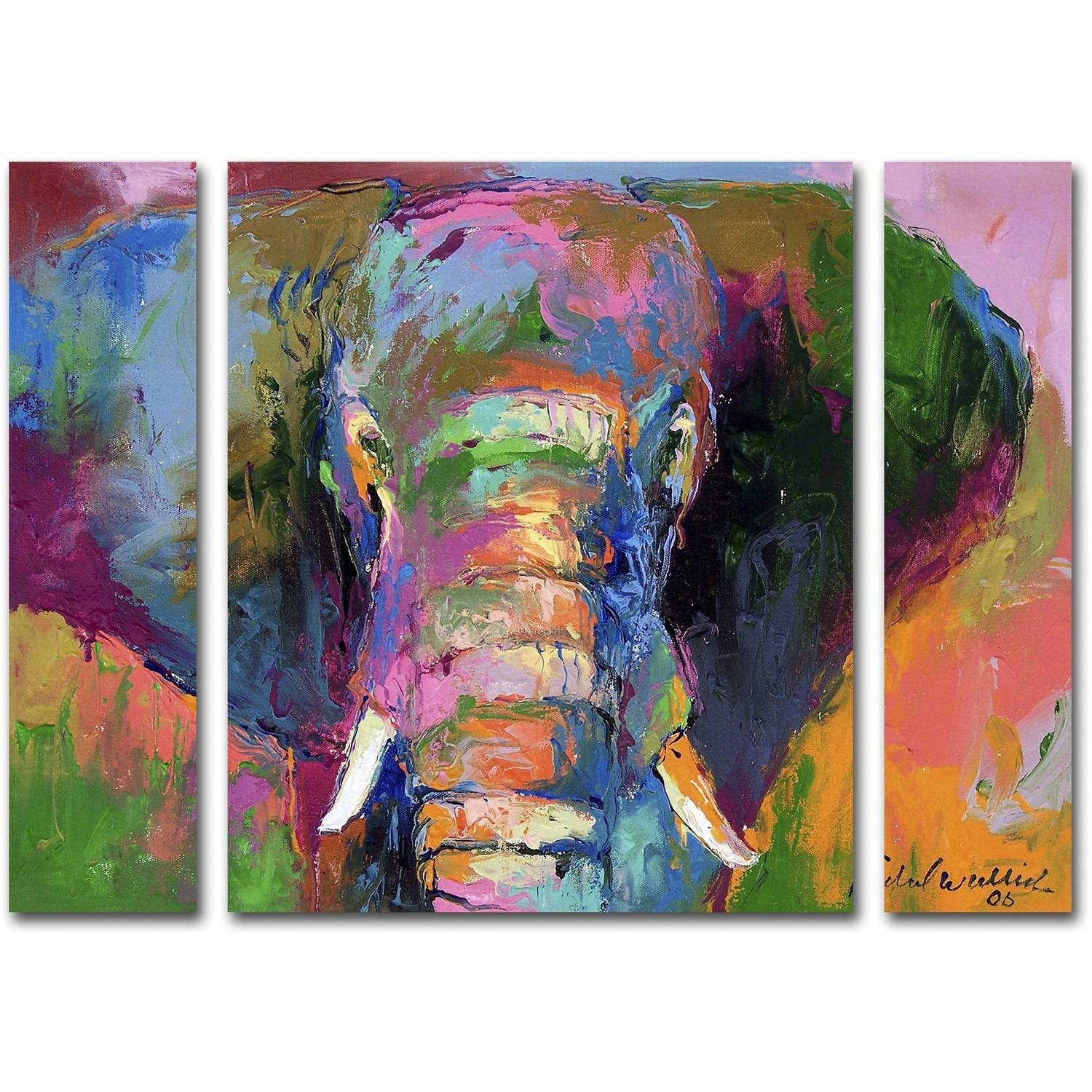 "Richard Wallich ""elephant 2"" Multi Panel Art Set – Walmart Inside Most Recently Released Canvas Wall Art At Walmart (View 12 of 15)"