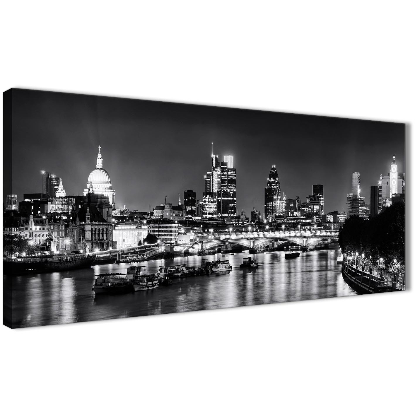 River Thames Skyline Of London Canvas Art Pictures – Landscape Regarding 2017 London Canvas Wall Art (Gallery 13 of 15)