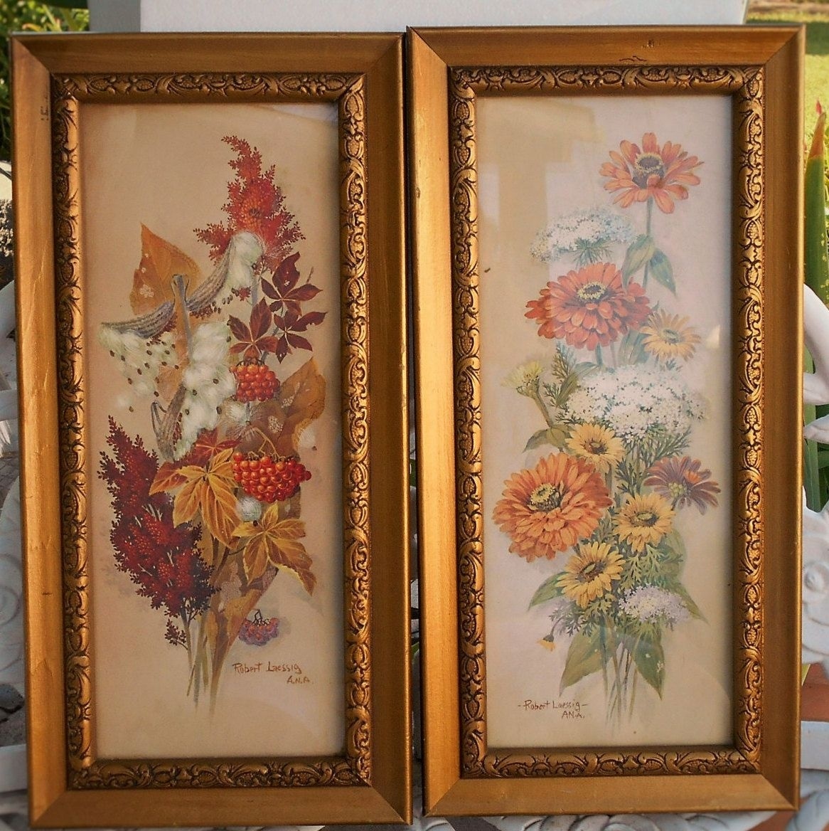 Robert Laessig 1966 16 ' Floral Framed Litho Prints .these Shabby With Regard To Most Current Shabby Chic Framed Art Prints (Gallery 13 of 15)