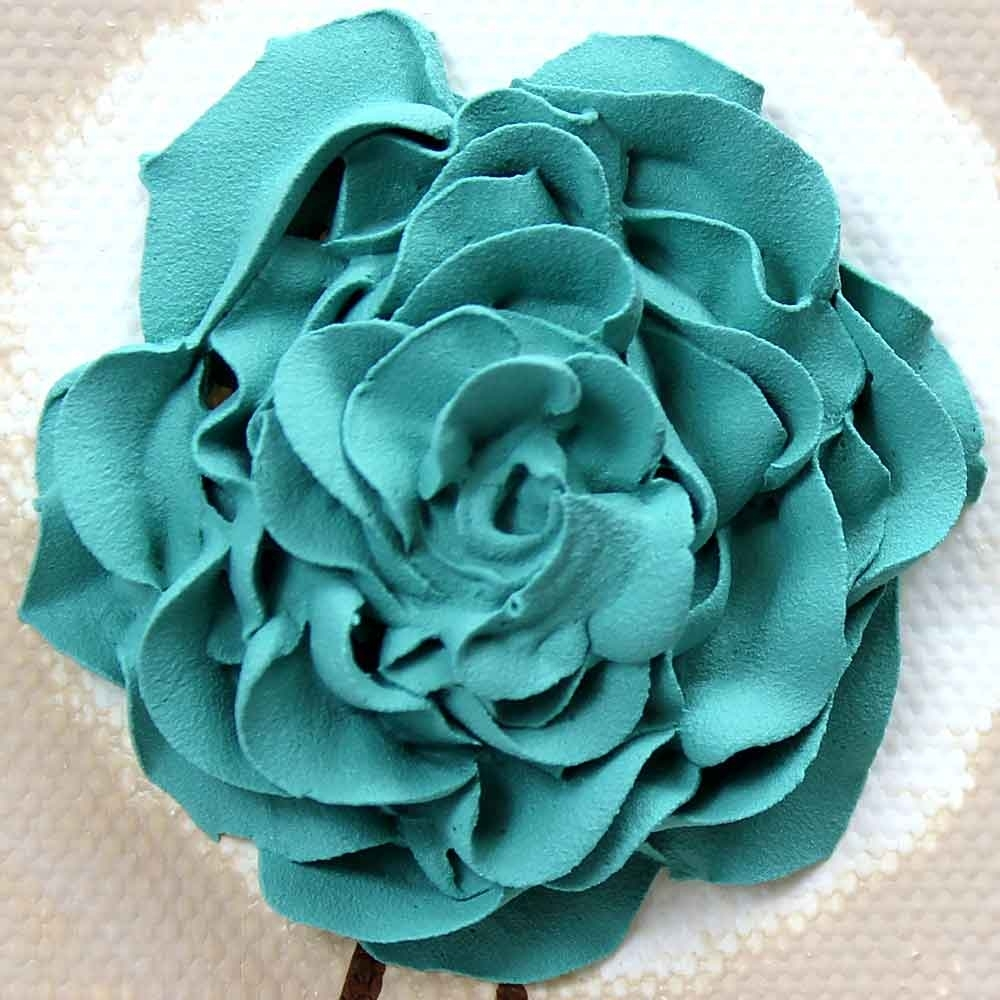 Rose Canvas Wall Art Textured Painting Teal And Khaki – Small Regarding 2018 Blue Canvas Wall Art (View 12 of 15)