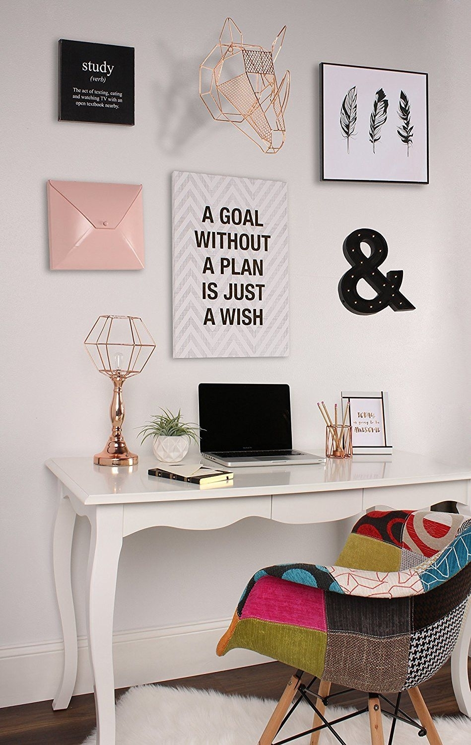 Rose Gold Geometric Hanging Rhino Head Metal Wall Art | Modern Throughout Most Popular Canvas Wall Art For Dorm Rooms (View 12 of 15)