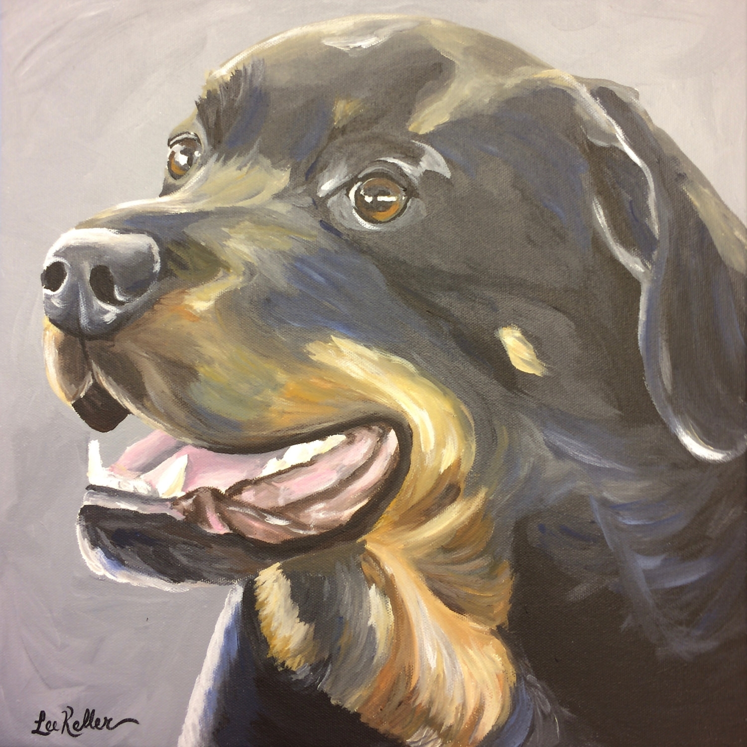 Rottweiler Art Print From Original Painting, Rottweiler Art Print Inside Most Popular Dog Art Framed Prints (Gallery 13 of 15)