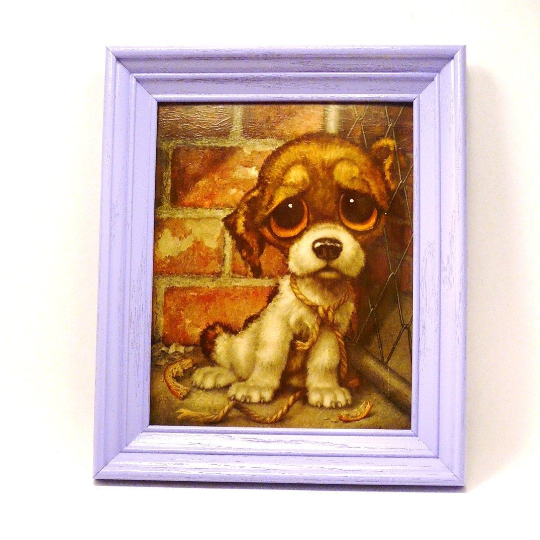 Sad Puppy Kitschy Wall Art, Framed Print, Big Eyed, Big Eyes Intended For 2018 Dog Art Framed Prints (View 14 of 15)