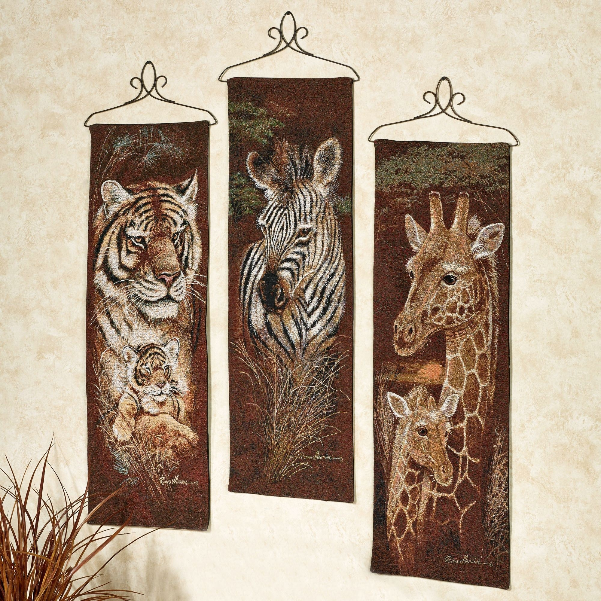 Safari Animal Wall Tapestry Panel Set Throughout Most Recently Released Safari Canvas Wall Art (Gallery 5 of 15)